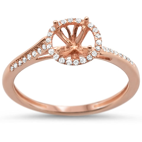 .11ct 14k Rose Gold Halo Semi-Mount Ring Size 6.5