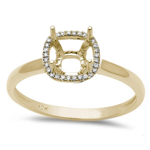 .09ct 10k Yellow Gold Halo Semi-Mount Ring Size 6.5