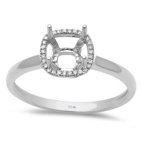 .09ct 10k White Gold Halo Semi-Mount Ring Size 6.5