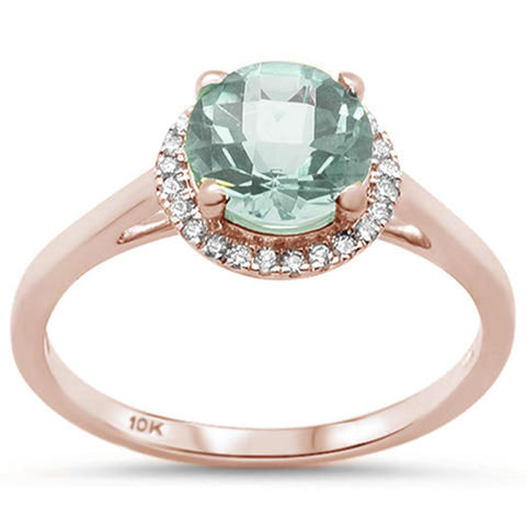 .95ct 10K Rose Gold Round Green Amethyst & Diamond Ring Size 6.5