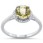1.22ct F SI Round Lemon Topaz 10k White Gold Diamond Ring Size 6.5