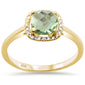 .91ct F SI Cushion Cut Green Amethyst 10k Yellow Gold Diamond Ring Size 6.5