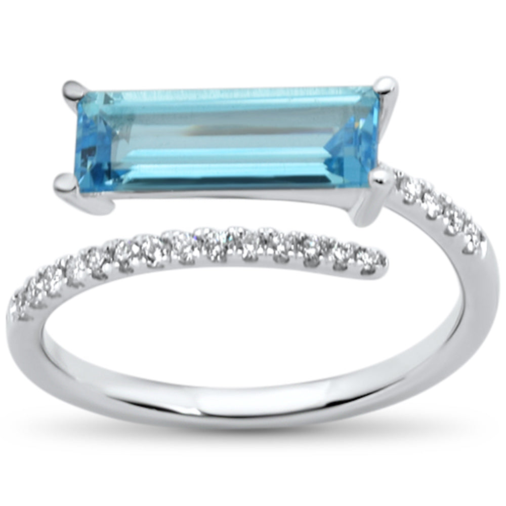 1.90cts 14k Natural Blue Topaz Wrap Around White Gold Diamond Ring Size 6.5