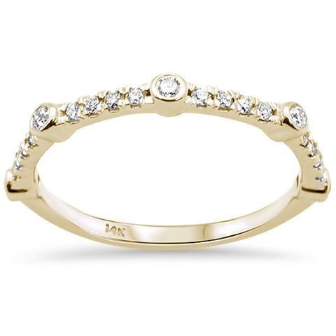 .25ct F SI 14K Yellow Gold Diamond Trendy Stackable Band Ring Size 6.5