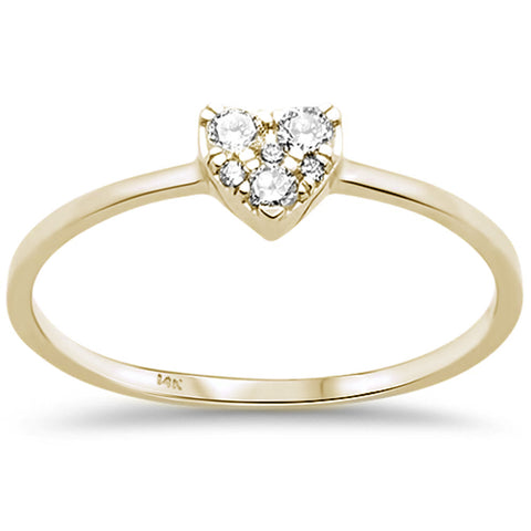 .13ct F SI 14K Yellow Gold Heart Diamond Promise Engagement Ring Size 6.5