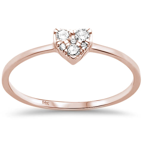 .13ct F SI 14K Rose Gold Heart Diamond Promise Engagement Ring Size 6.5