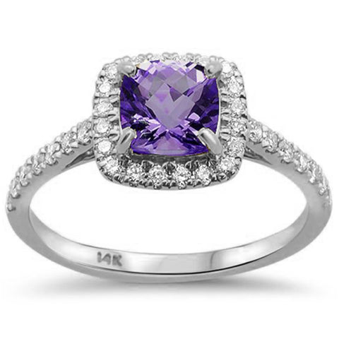 1.18ct 14kt White Gold Cushion Cut Amethyst & Diamond Ring Size 6.5