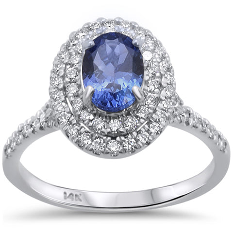 1.5ct 14kt White Gold Oval Tanzanite & Diamond Ring Size 6.5