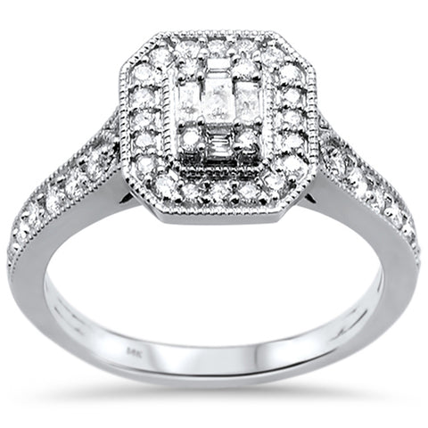 .50ct 14k White Gold Emerald Cut Shape Diamond Engagement Ring Size 6.5