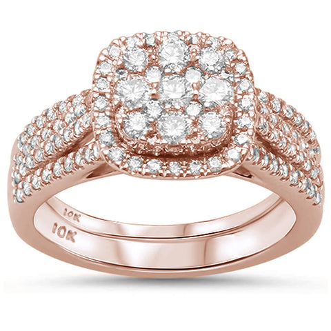 "<span style=""color:purple"">SPECIAL!</span> .96ct 10K Rose Gold Square Diamond Engagement Ring Bridal Set Size 6.5"