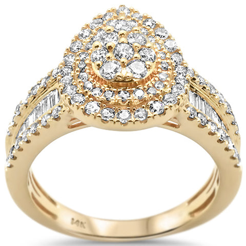 .99ct 14k Yellow Gold Pear Shape Diamond Engagement Ring Size 6.5