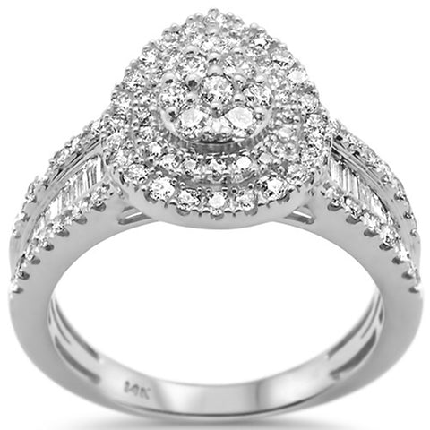 1.01ct 14k White Gold Pear Shape Diamond Engagement Ring Size 6.5