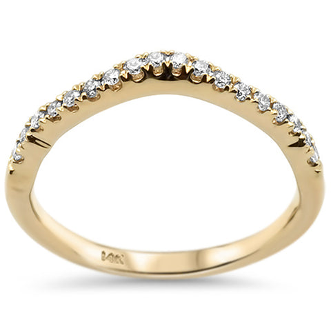 .17ct 14k Yellow Gold Curved Accent Diamond Wedding Band Ring Size 6.5