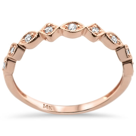 .10ct 14k Rose Gold Diamond Stackable Wedding Band Ring Size 6.5