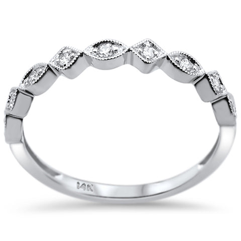 .09ct 14k White Gold Diamond Wedding Stackable Ring Band Size 6.5