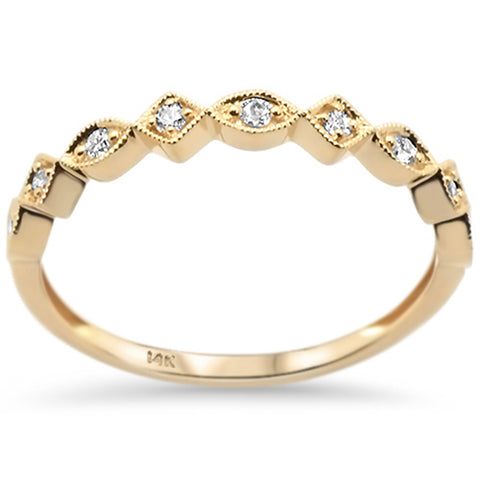 .10ct 14k Yellow Gold Diamond Stackable Wedding Band Ring Size 6.5