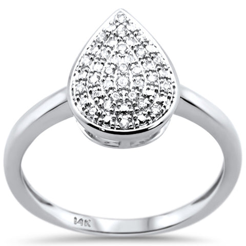 .10ct 14k White Gold Diamond Pear Shape Engagement Ring Size 6.5