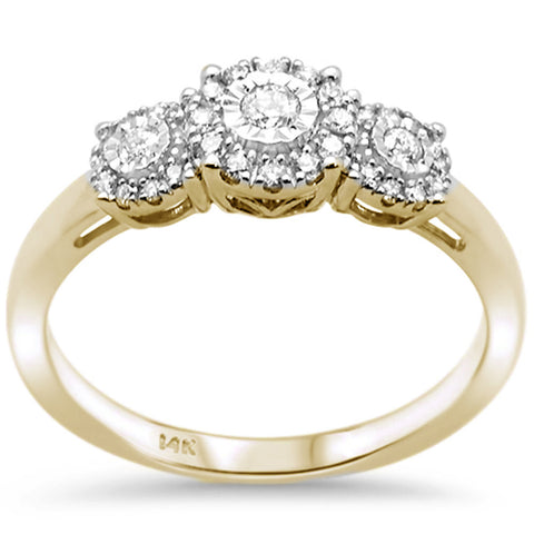 .24ct F SI 14K Yellow Gold Round Diamond Three Stone Engagement Ring Size 6.5