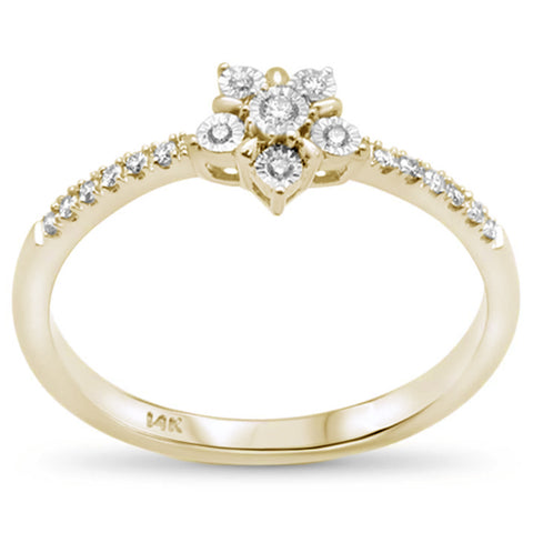 .09ct F SI 14K Yellow Gold Flower Diamond Trendy Ladies Ring Size 6.5