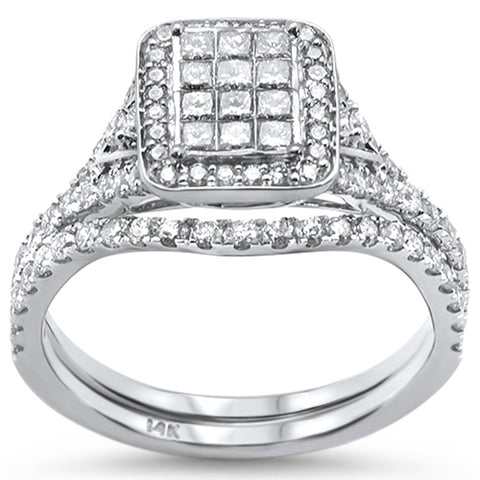 "<span style=""color:purple"">SPECIAL!</span> 1.00ct 14k White Gold Diamond Engagement Ring Bridal Set Size 6.5"
