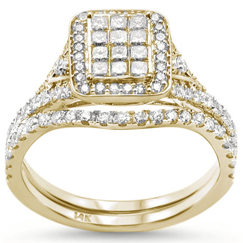 "<span style=""color:purple"">SPECIAL!</span> 1.00ct 14k Yellow Gold Diamond Square Shape Bridal Set Engagement Ring"