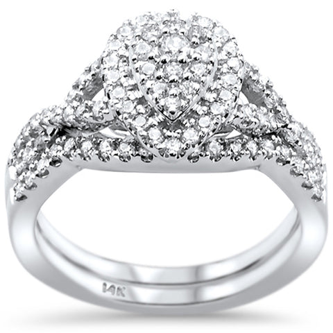 .62ct 14k White Gold Pear Shape Diamond Engagement Ring Size 6.5