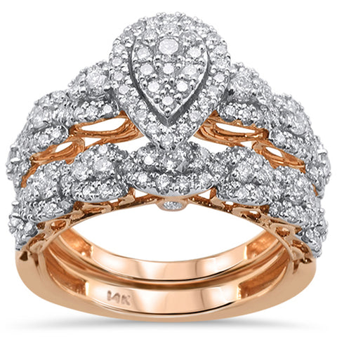 "<span style=""color:purple"">SPECIAL!</span> 1.25ct 14k Rose Gold Pear Shape Diamond Engagement Ring Bridal Set Size 6.5"