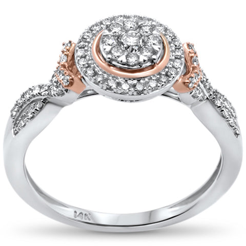 .39ct 14k Two Tone Gold Round Diamond Engagement Ring Size 6.5