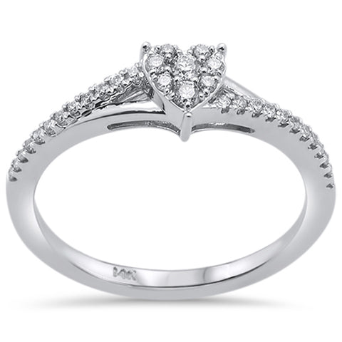 .20ct 14k White Gold Heart Shaped Diamond Engagement Promise Ring Size 6.5