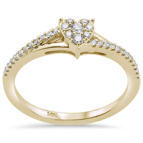 .18ct F SI 14K Yellow Gold Heart Shaped Diamond Engagement Promise Ring Size 6.5
