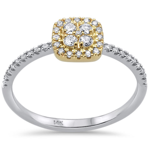 .25ct 14k Two Tone Gold Square Shape Diamond Engagement Promise Ring