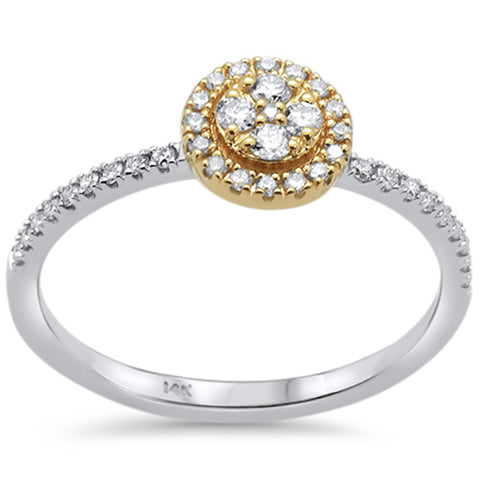 .24ct 14k Two Tone Gold Round Diamond Engagement Promise Ring Size 6.5