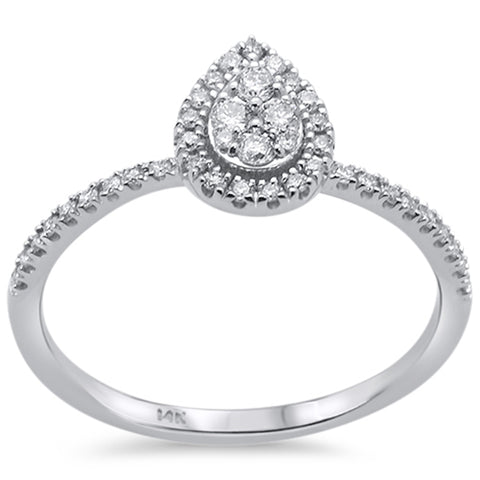 .26ct 14k White Gold Pear Shape Diamond Engagement Promise Ring Size 6.5
