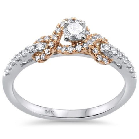 .38ct 14k Two Tone Gold Diamond Engagement Promise Ring Size 6.5