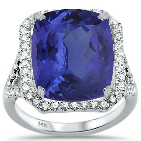 10.08ct 14K White Gold Natural Tanzanite & Diamond Ring Size 6.5