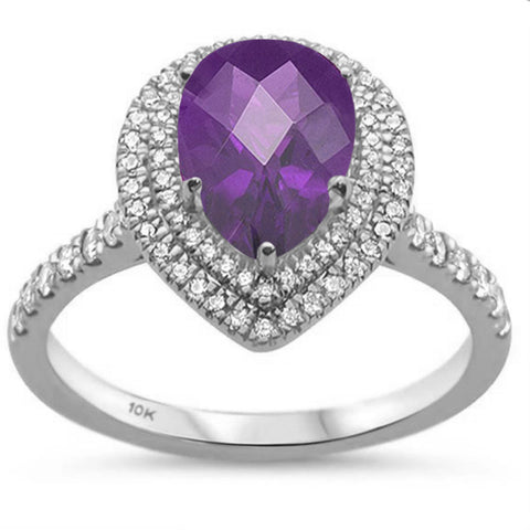 1.50ct 10k White Gold Pear Shape Amethyst & Diamond Ring