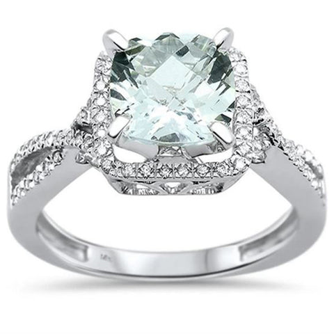 1.92cts 14k White Gold Cushion Cut Aquamarine & Diamond Ring