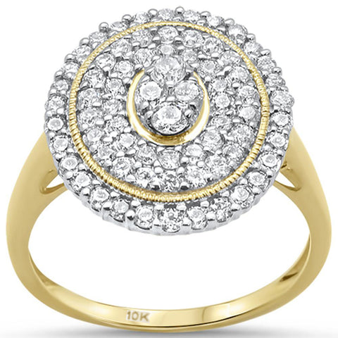 .98ct 10k Yellow Gold Diamond Oval Shape Cocktail Engagement Ring Size 6.5