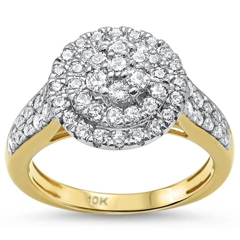 .96ct 10k Yellow Gold Diamond Cluster Cocktail Engagement Ring Size 6.5