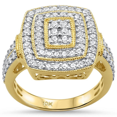 .98ct 10k Yellow Gold Square Cocktail Cluster Diamond Ring Size 6.5
