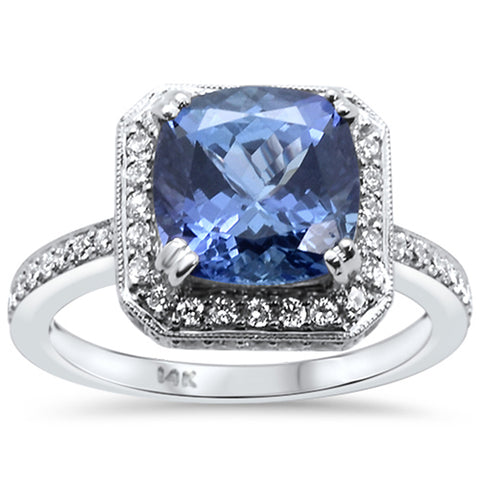 4.57ct 18kt White Gold Cushion Cut Natural Tanzanite & Diamond Ring