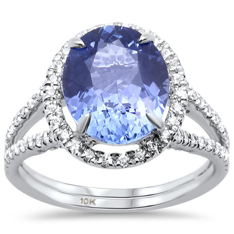 4.00ct 10k White Gold Oval Natural Tanzanite & Diamond Ring Size 6.5
