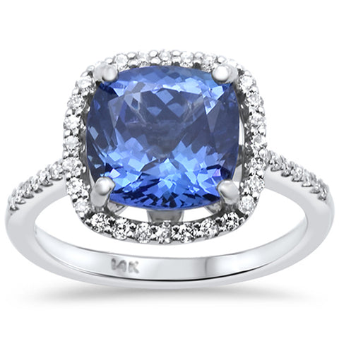 4.12ct 14k White Gold Cushion Cut Natural Tanzanite & Diamond Ring Size 6.5