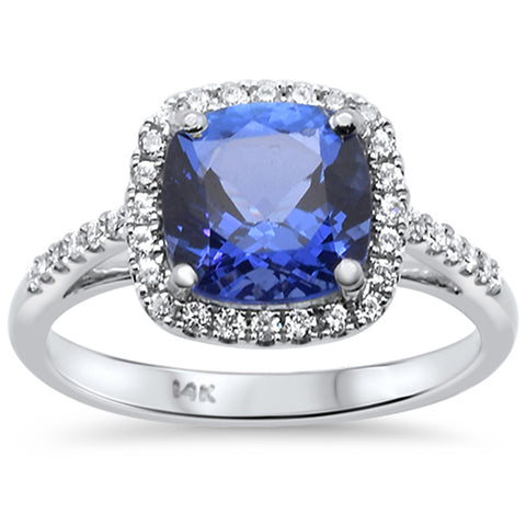 2.68ct 14k White Gold Cushion Cut Natural Tanzanite & Diamond Ring Size 6.5
