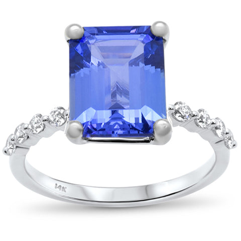 4.00ct F SI 14k White Gold Natural Emerald Cut Tanzanite & Diamond Ring Size 6.5