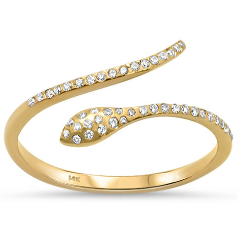 .11ct 14K Yellow Gold Wrap around Snake Diamond Ring Size 6.5