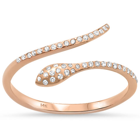 .12ct 14K Rose Gold Wrap Around Snake Diamond Ring Size 6.5