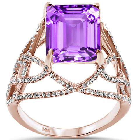 3.64ct 14K Rose Gold Amethyst & Diamond Ladies Ring Size 6.5