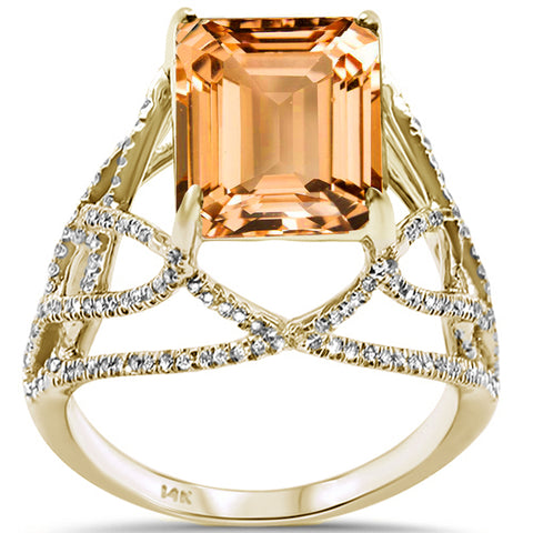 5.87ct F SI 14K Yellow Gold Citrine & Diamond Ladies Ring Size 6.5