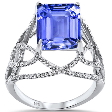 5.09ct 14K White Gold Tanzanite & Diamond Ladies Ring size 6.5